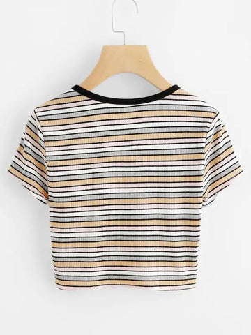 Striped Ribbed Crop Henley Tee