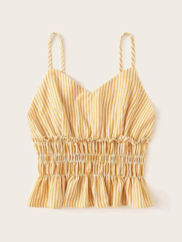 Striped Shirred Ruffle Hem Cami Top