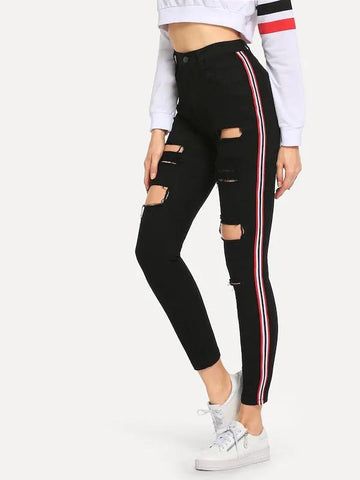 Striped Side Ripped Jeans