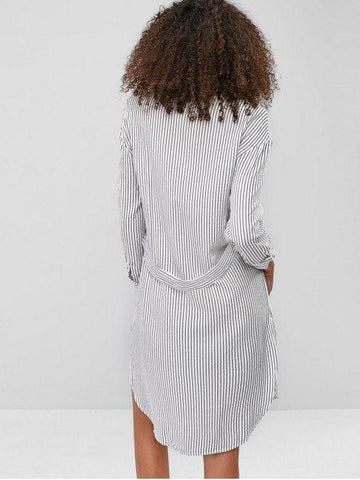 Striped Chest Pocket Slit Shirt Dress
