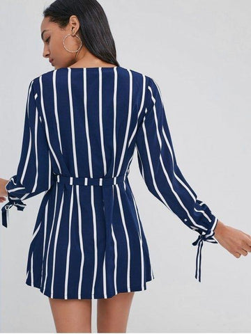 Striped Long Sleeve V Neck Shirt Dress