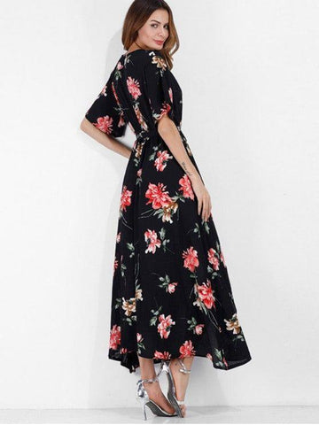 Surplice Floral Boho Belted Slit Dress