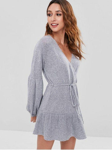 Surplice Long Sleeve Sweater Dress