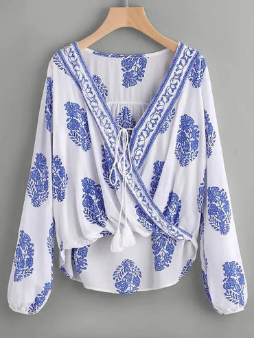 Tassel Tie Surplice Leaf Top