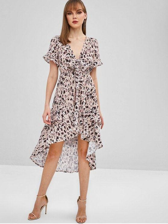 Tie Front Spot Print High Low Dress