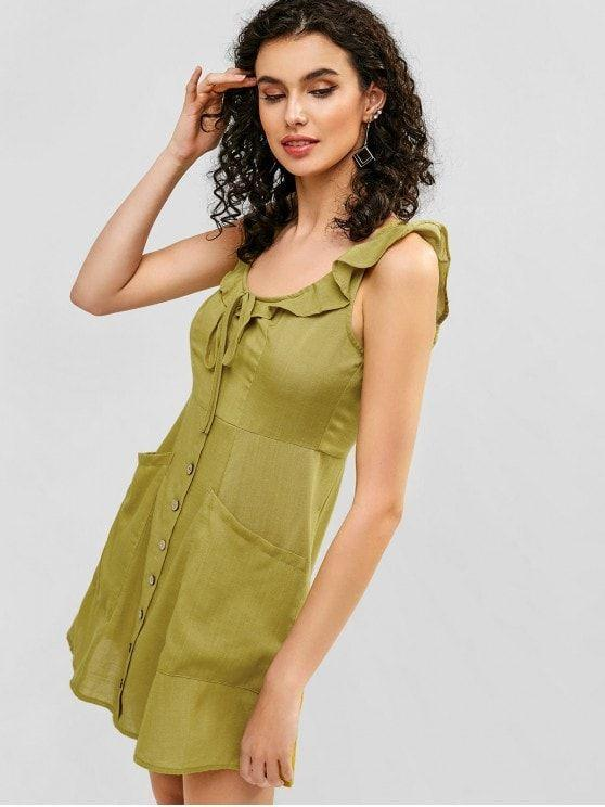Tie Ruffle A Line Dress