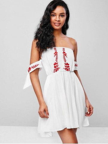 Tie Sleeves Floral Embroidered Flare Dress