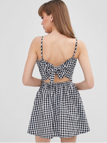 Twist Front Gingham Cami Dress