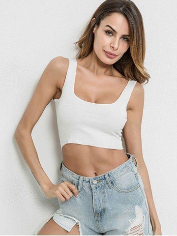 Cotton U Neck Crop Tank Top
