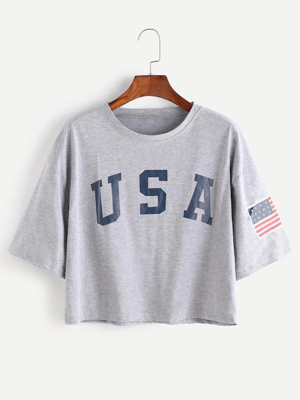 c4c36dd193 USA Flag Print Drop Shoulder Crop Tee – TopFashionova