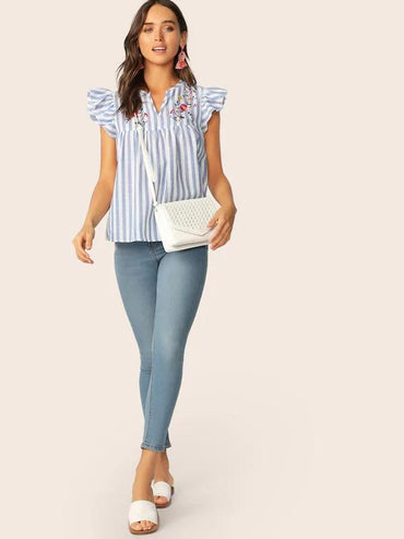 V-Cut Neck Ruffle Armhole Floral Embroidered Top