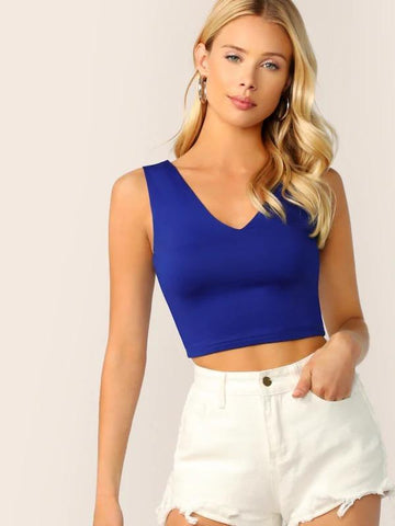 V Neck Crop Shell Top