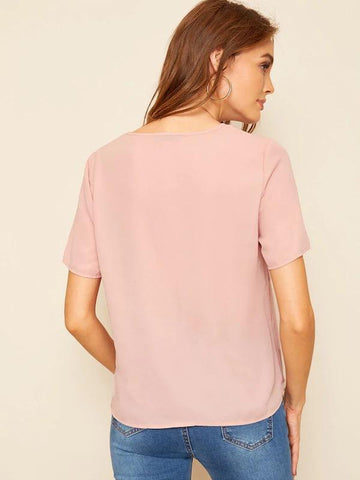 V-Neck Solid Tunic Top