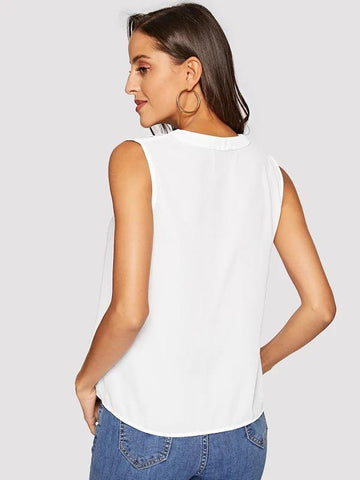 V Placket Shell Top