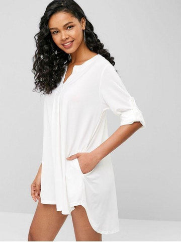 V Neck High Low Tunic Dress