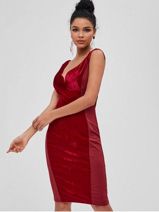 Velvet Panel Plunge Bodycon Dress