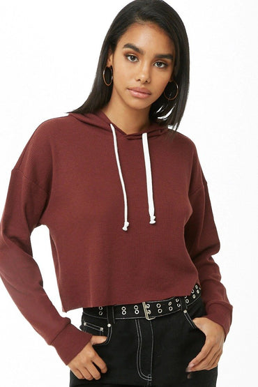 Waffle-Knit Hooded Top