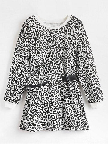 Waist Pack Leopard Sweatshirt Dress