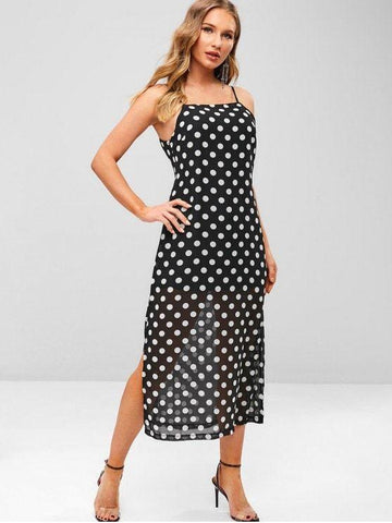 Polka Dot Slit Cami Dress