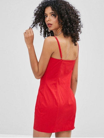 Zip Front Plain Cami Dress