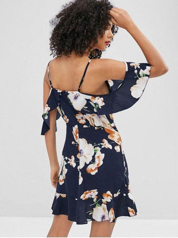 Floral Ruffles Cold Shoulder Short Sleeves Mini Dress