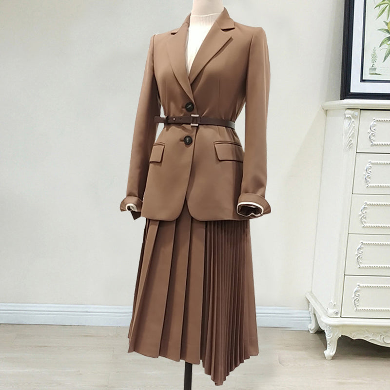 Slim Suit Jacket Blazer Pleated Skirt