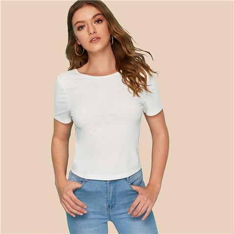 Black or White Tied Open Back Solid Top Summer Round Neck T Shirt Women Solid Slim Fit Backless Short Sleeve Sexy T-shirts