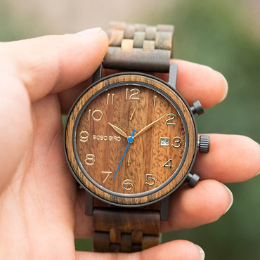 Handmade Wooden Watches Metal Luxury Chronograph Wood Watch