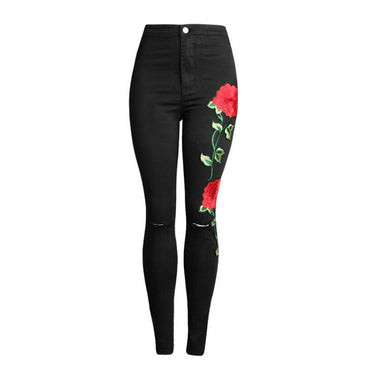 High Waist Black Embroidery Jeans