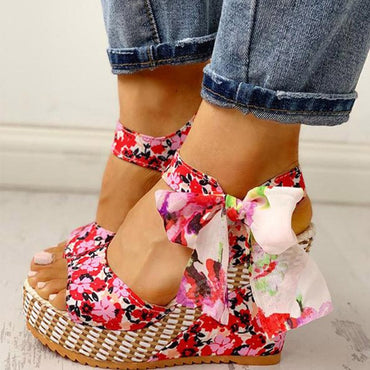 Dot Bowknot Design Platform Wedge Casual High Increas  Ankle Strap Open Toe Sandals