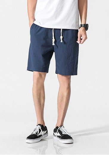 solid loose man Drawstring soft Comfortable Flax shorts