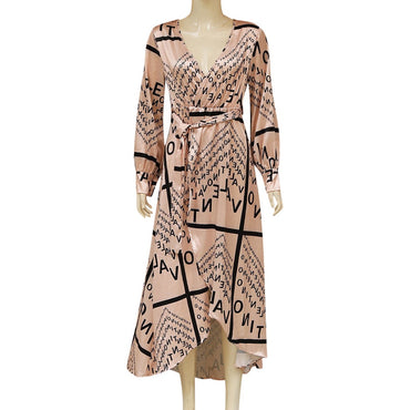 V Neck Letter Loose Beige Printed Long Sleeve Sexy Long Maxi Noble Current Elegant Short Dress