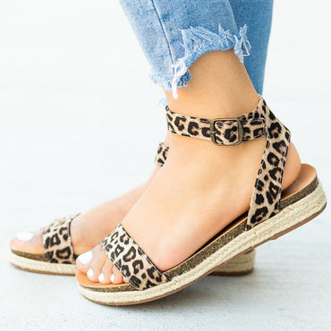 Leopard Flat Sandals Flat Shoes