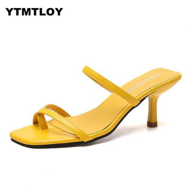 Narrow Band Heel Vintage Square Toe Concise Shes Party  Yellow Sandals