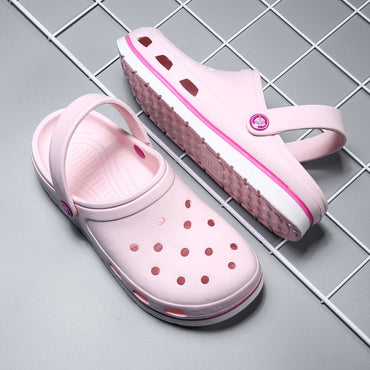 Beach Comfortable Pink Outdoor Slides Slip on Hole Loafers Garden Sandals