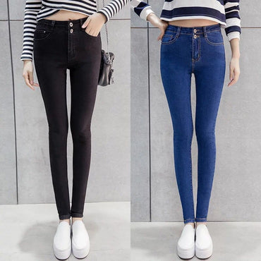 Skinny High Waist Elasticity Blue Black Denim Pencil Pants Stretch Jeans