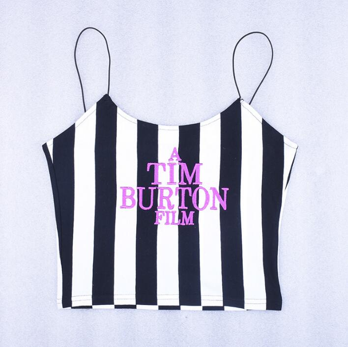 straps stripe letters Embroidery sexy crop tops