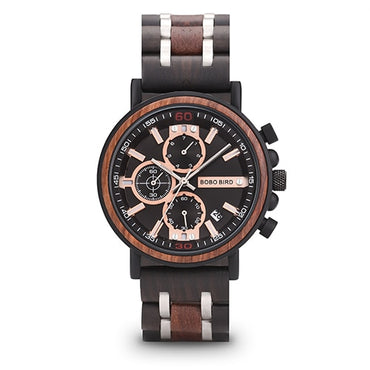 Chronograph Military Watches in Gift Box Customization Wood Watches