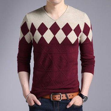 Pullover Sweater Men Turtleneck Casual V-Neck Sweater