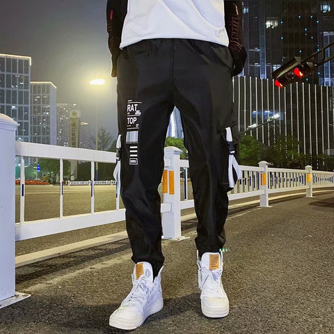 Pocket Loose Men Cool HipHop New Fashion Black Joggers Pants