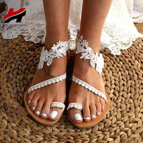 Solid Color Lace Open Toe Wedding Sandals