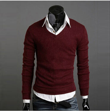 autumn solid color  V-neck casual sweater men slim fit basic pullover