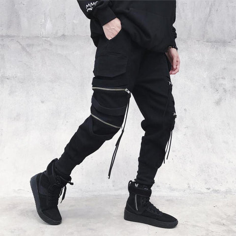 New Hip Hop Streetwear  Zipper Ribbons Harem Pants