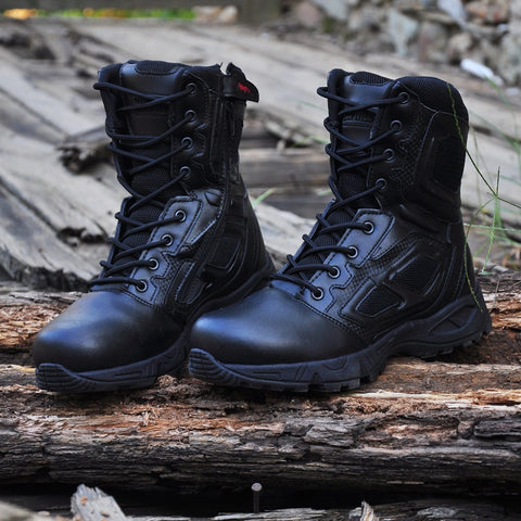 Military Army Boot Genuine Leather Vintage Lace Up Waterproof Safety Shoes Black Desert Combat Tactical Ankle Boots