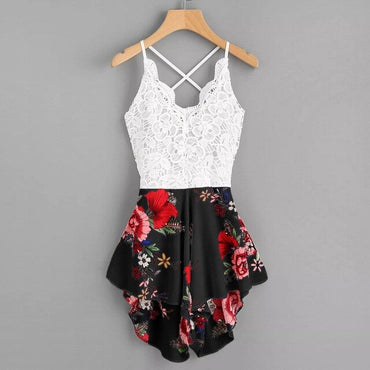 Sexy Crochet Lace Panel Bow Tie Back Florals Shorts Rompers