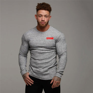 brand knitting long sleeve O-neck Slim fit fashion clothes fitness  sweater
