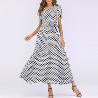 O-Neck Short Sleeve Boho Polka Dot Bandage Maxi Long Dress