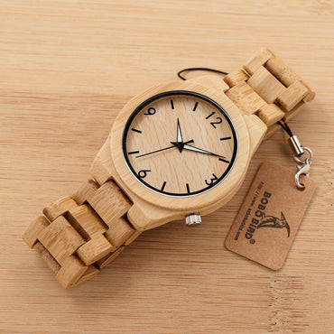 Luminous Hand Natural All Bamboo Wood Watches Top Brand Luxury Men Watch