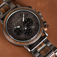 Luxury Wood Stainless Steel  Watch Stylish Wooden Timepieces Chronograph Quartz Watches