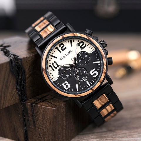 Wooden Stainless Steel Watch Timepieces Chronograph Quartz Watches